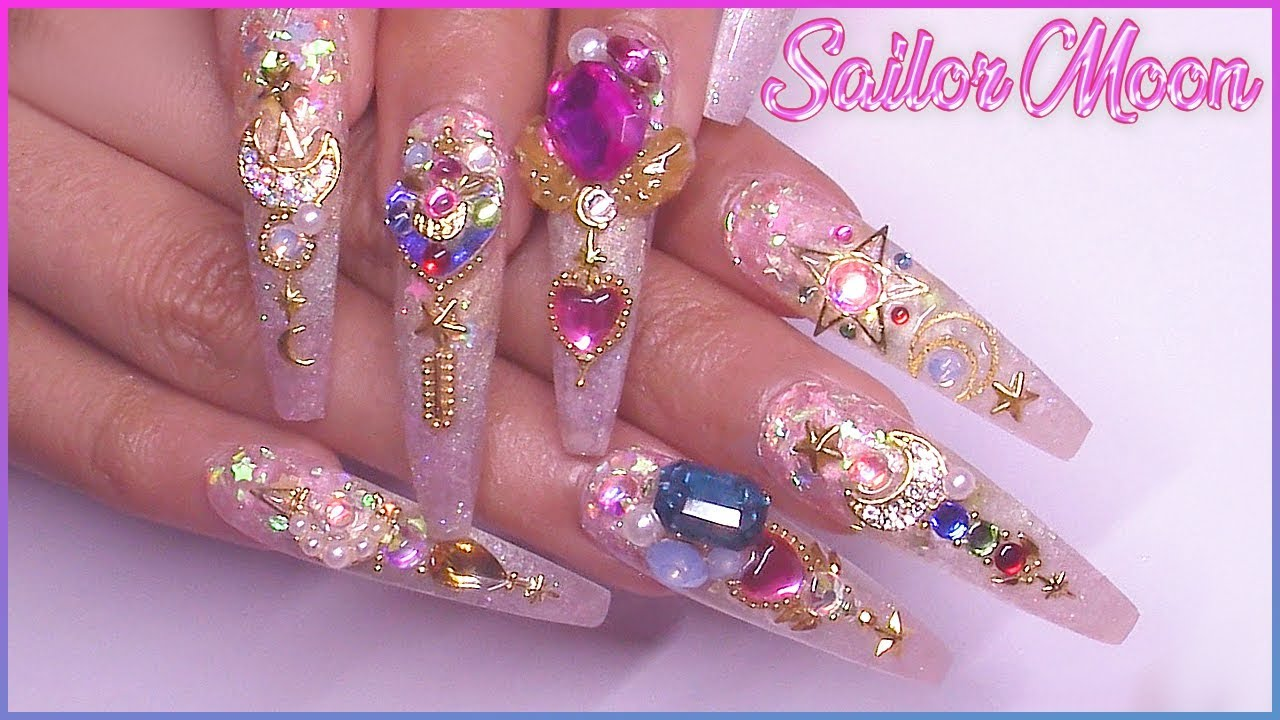 Femi's Sailor Moon Acrylic Nail Art Tutorial | PRESS ON NAILS
