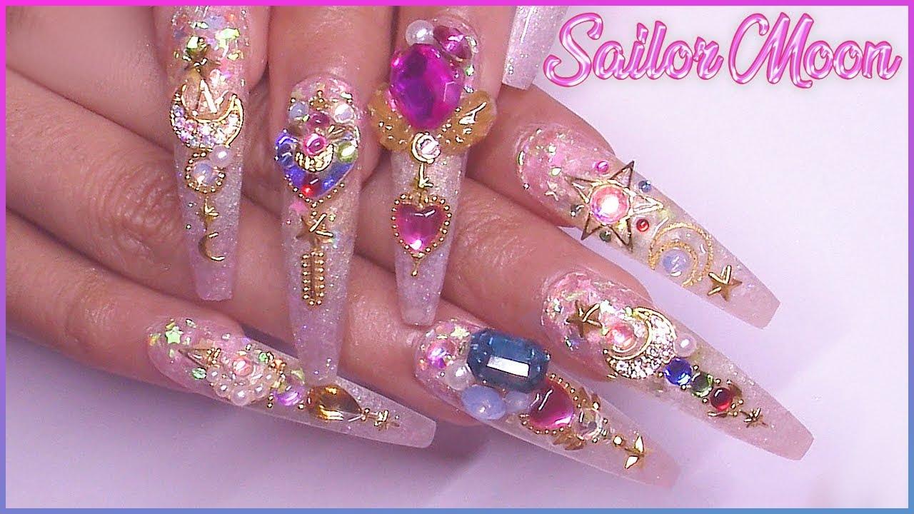 sailor moon acrylic nail art tutorial