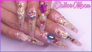 🌙 Sailor Moon Acrylic Nail Art Tutorial | PRESS ON NAILS🌙