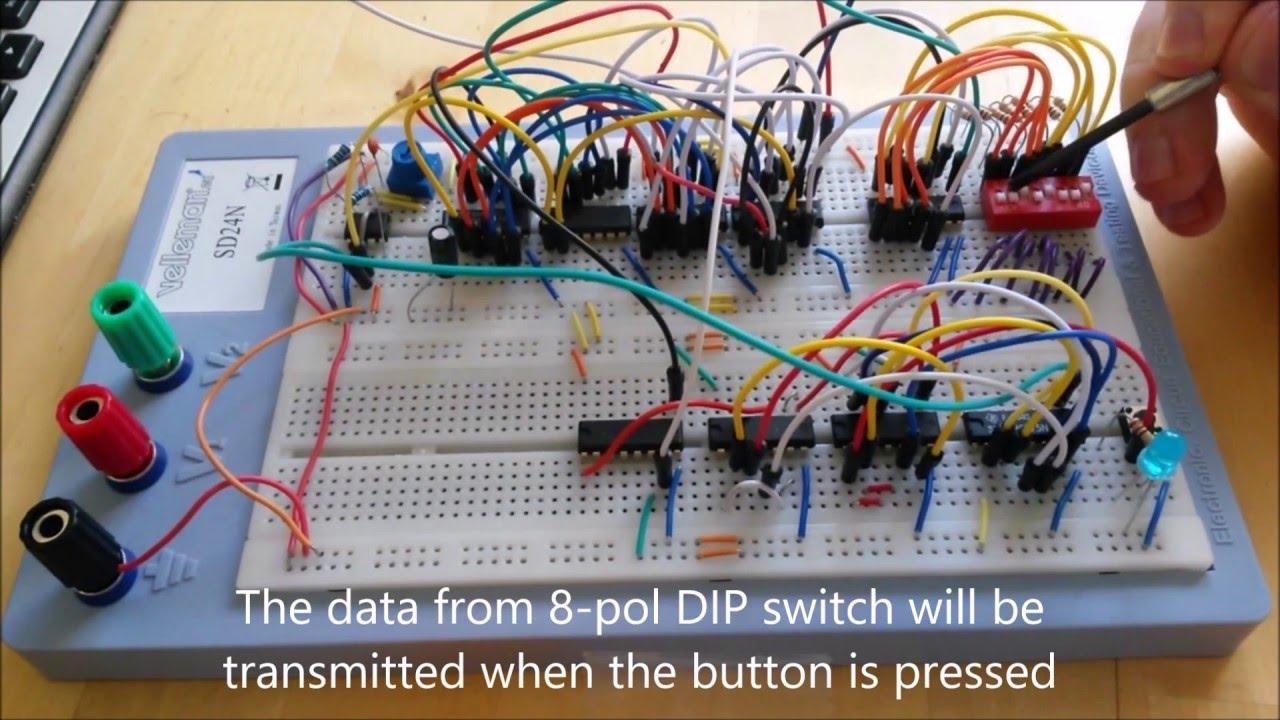 UART transmitter built of digital logic IC circuits