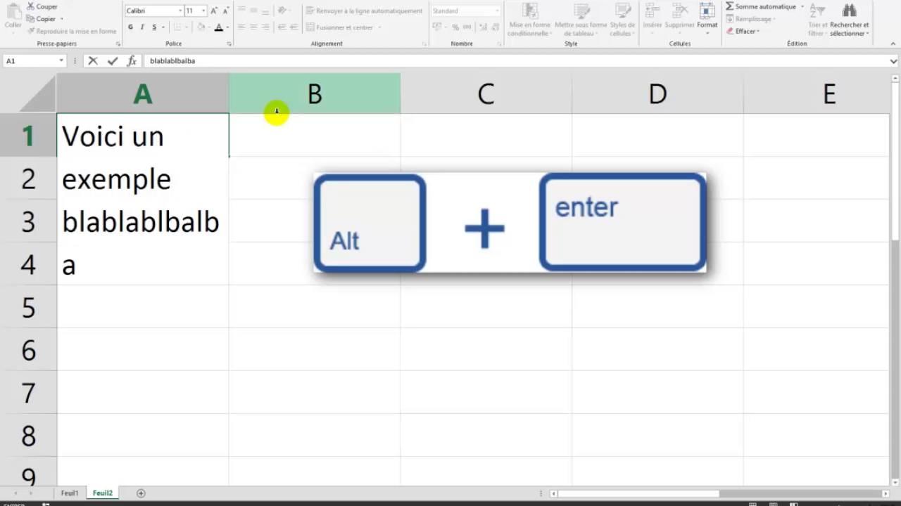 Excel Comment Aller A La Ligne Dans Une Cellule Youtube