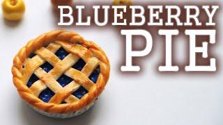 DIY Miniature food - Blueberry Pie - Polymer Clay Tutorial