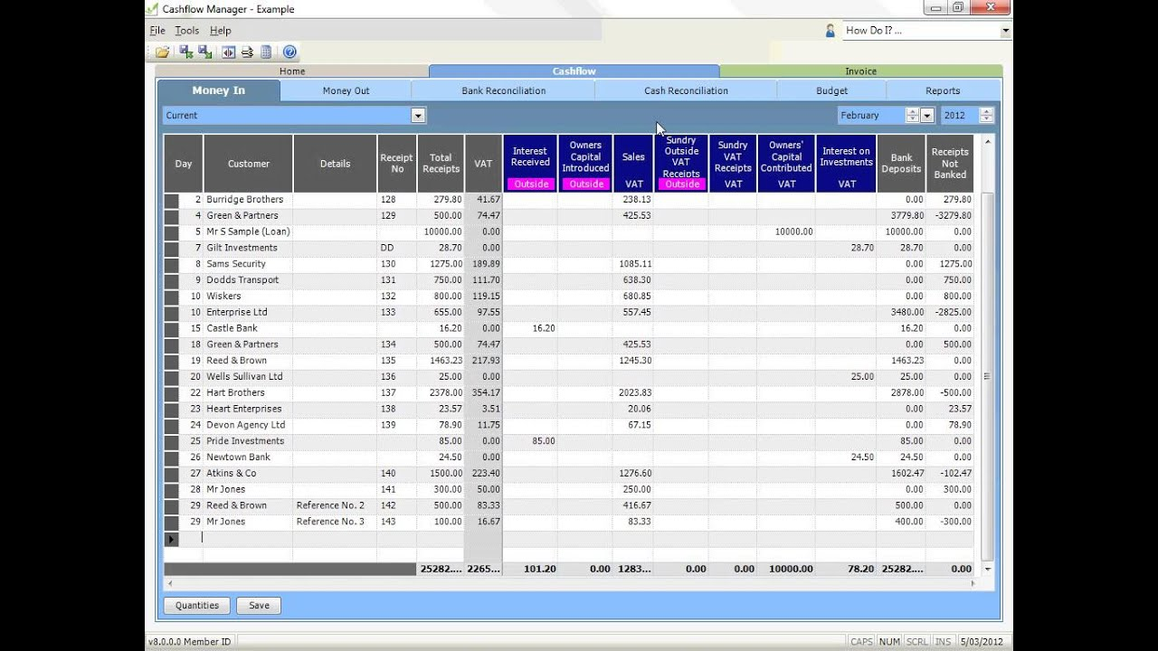 how to record money in and money out in cashflow manager