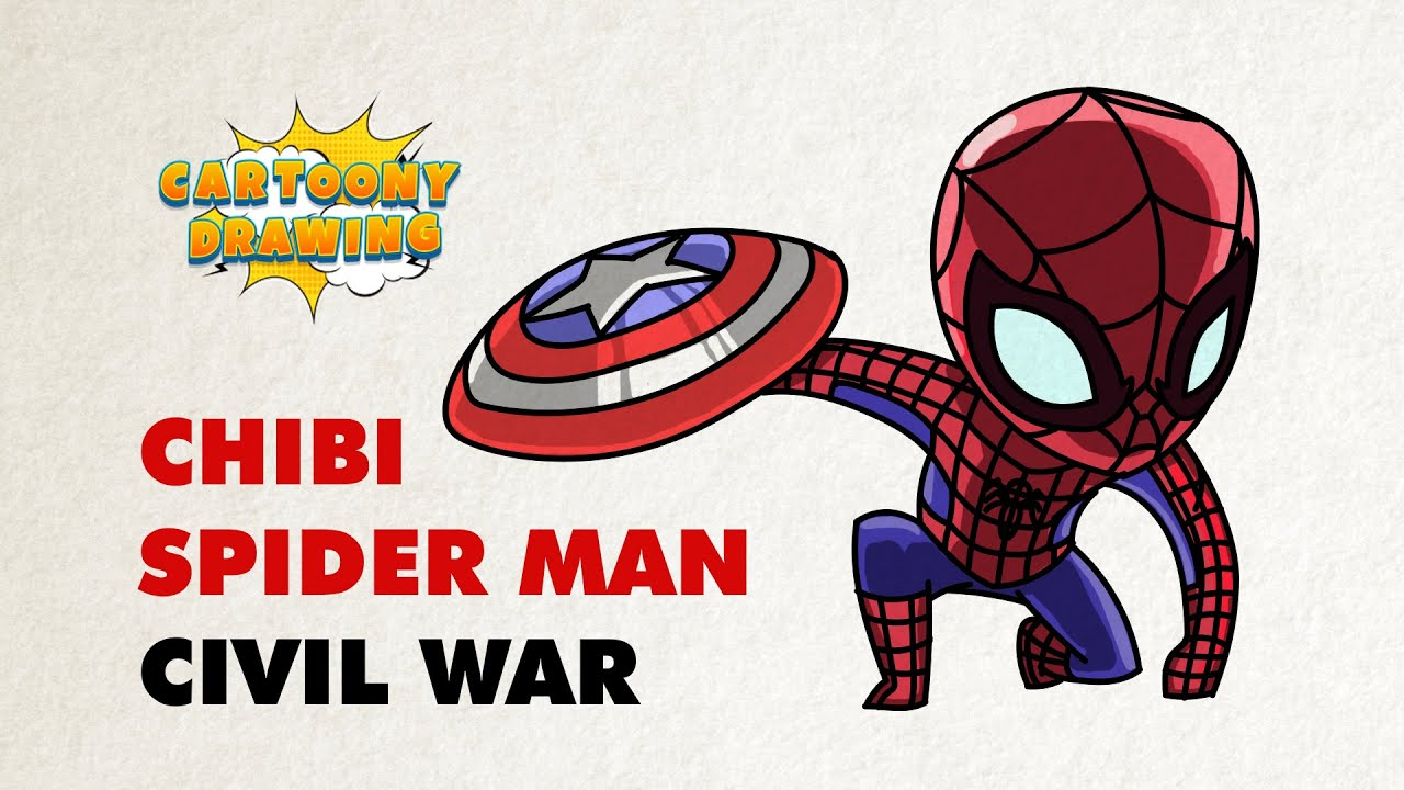 spider man civil war with captain america u0027s shield how to draw