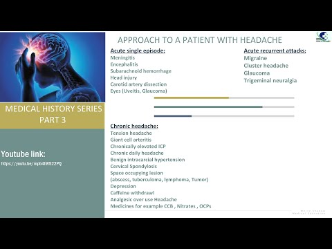 (#MRCP#PACES#PLAB#USMLE) APPROACH TO A PATIENT WITH HEADACHE, MEDICAL HISTORY SERIES PART 3