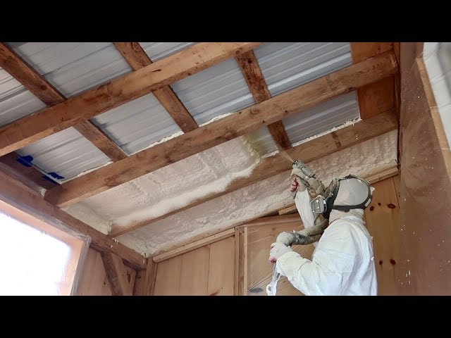 Post & Beam Barn/Workshop Gets Spray Foamed and the goats go on PASTURE FULLTIME