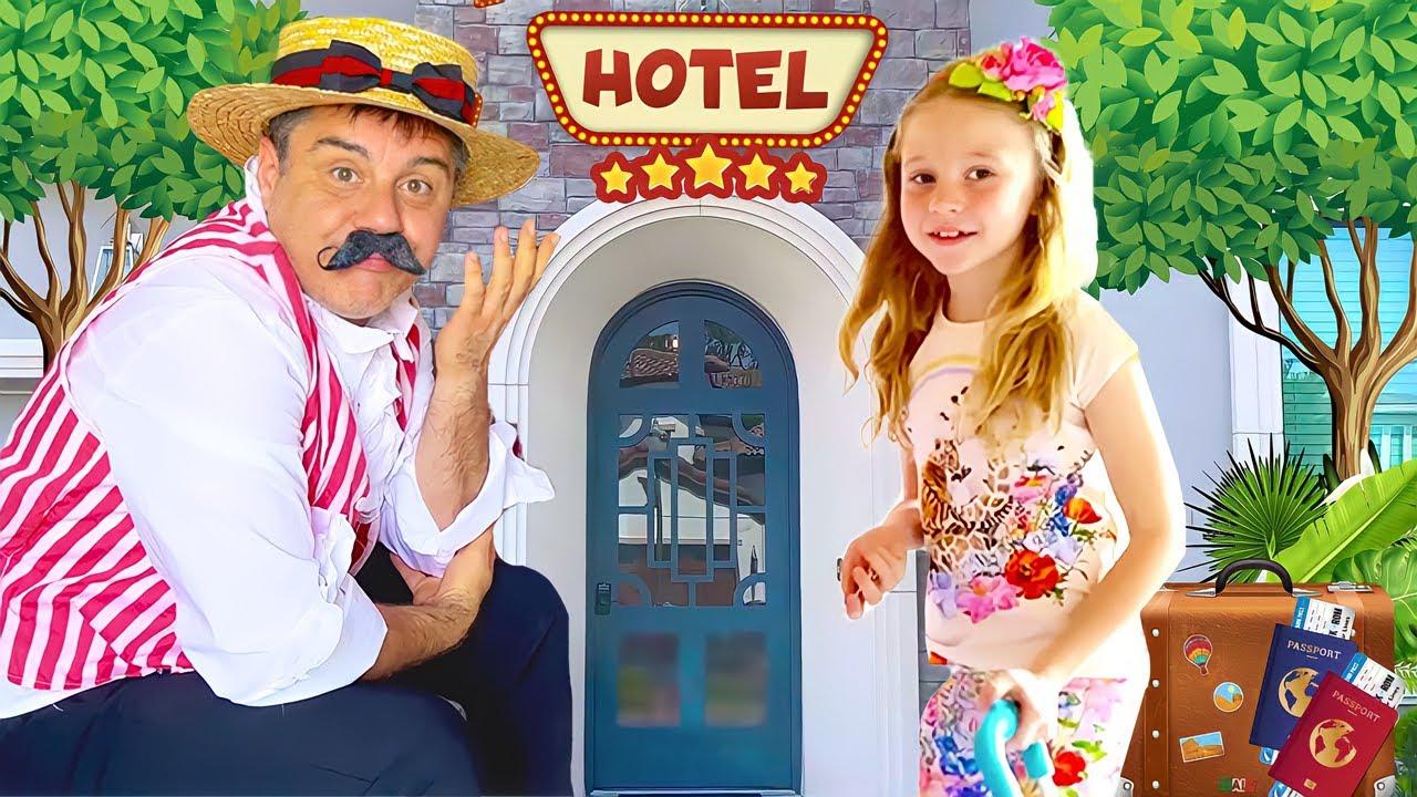 Nastya y papá divertida historia de juguetes de hotel