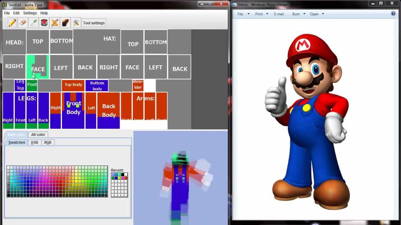 Minecraft Custom Skin Speed Edit Mario YouTube