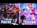 SKT T1 Faker LEBLANC vs SSG Crown LUX Mid - Patch 7.22 KR Ranked