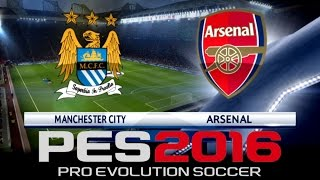 pes 2016 official man city vs arsenal champions league exhibition in game commentary