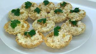 Тарталетки с курицей и ананасами /рецепт новогодней праздничной закуски