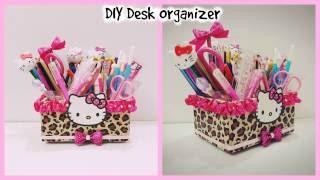 DIY Desk Organizer cardboard /Hello kitty organizer/DIY Make up Organizer
