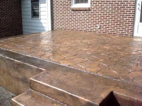Stamped Concrete Steps And Wall Kent Gray Youtube