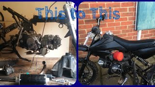 13 year old restores a pile of  junk 110cc pit bike