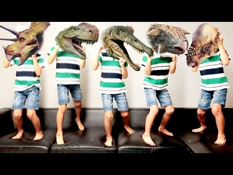 Learn Dinosaur with Five Little Dinosaurs Jumping On The Bed! Dinosaur Toys for Kids~