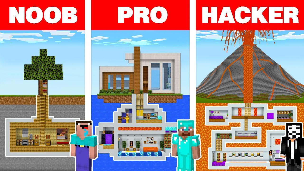 Minecraft NOOB vs PRO vs HACKER: UNDERGROUND BASE HOUSE BUILD CHALLENGE in Minecraft Animation