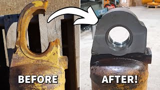 Replacing Eye on Hydraulic Cylinder for Caterpillar D9 Bulldozer | Machining, Welding, Milling