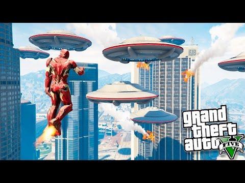 ЖЕЛЕЗНЫЙ ЧЕЛОВЕК ОСТАНОВИЛ ВТОРЖЕНИЕ ИНОПЛАНЕТЯН В GTA 5! - Железный человек против Инопланетян!!!