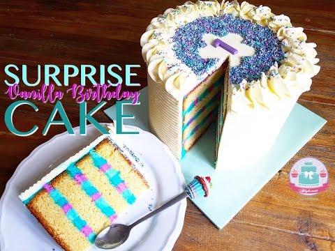 SUPRISE INSIDE VANILLA BIRTHDAY CAKE (Recipe & Decorating Tutorial) | Abbyliciousz The Cake Boutique