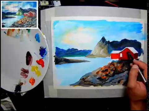 ACRYLIC PAINTING DEMO FOR BEGINNERS 07: Norway Cottage