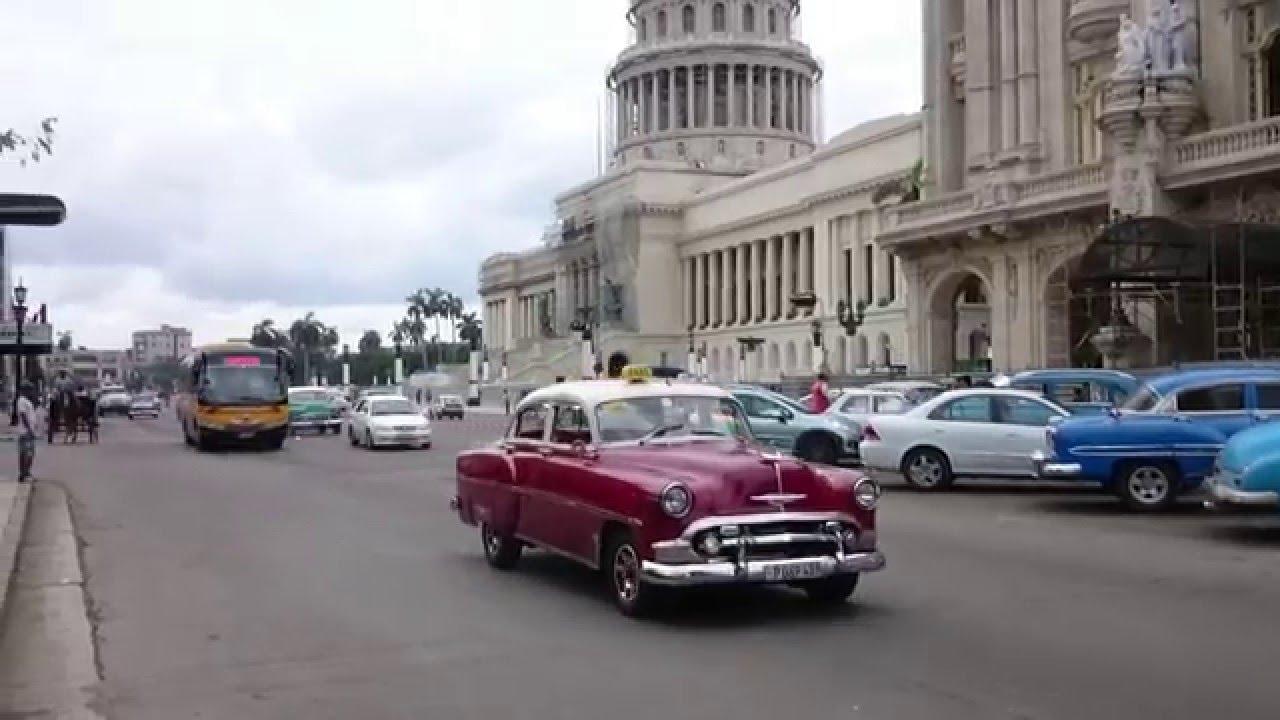 Classic (old) cars in traffic - Cuba - Havana - YouTube