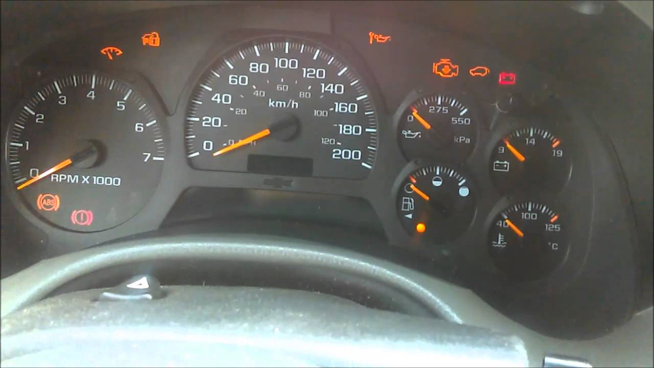 chevy trailblazer dashboard lights flashing