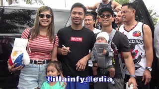 MANNY PACQUIAO A REAL ONE!! DOES A QUICK 24 MINUTE MEET & GREET AFTER A GRUELING RUN