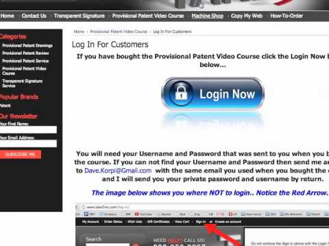 How to log in to the Provisional Patent Video Course