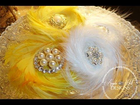 鳥の羽根でお花のブローチの作り方♡フェザーフラワーコサージュ☆
