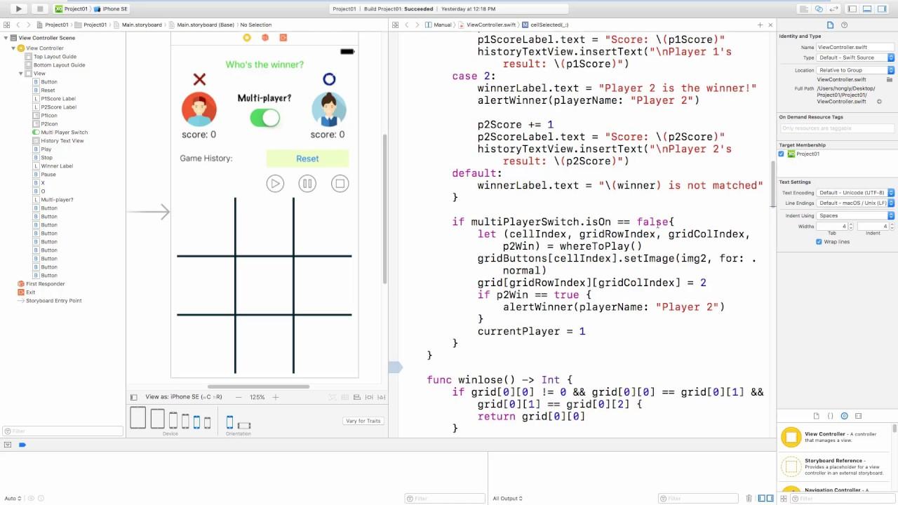 Tic Tac Toe Game - Swift 3 | Xcode 8