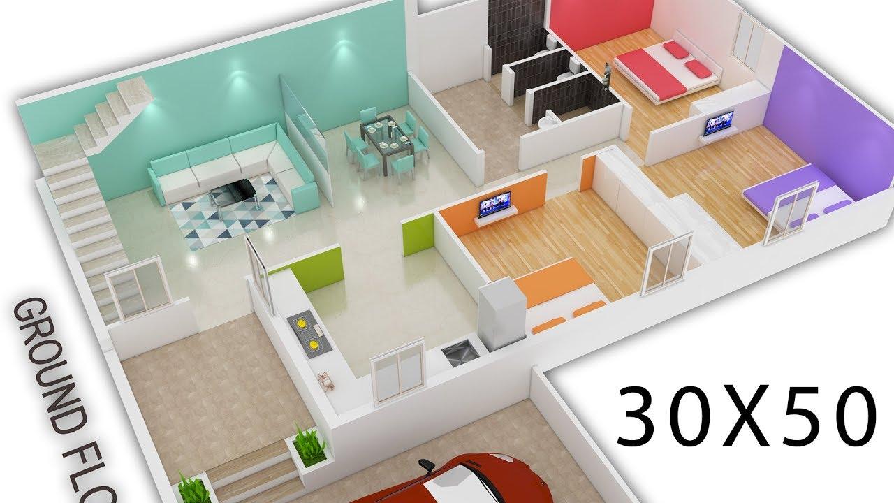 30X50 House plan 3d view by nikshail YouTube