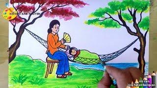 Vẽ tranh Mẹ ru con ngủ