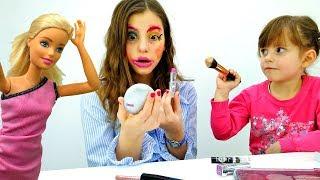 Макияж Челлендж с куклой Барби. Видео для девочек с игрушками.
