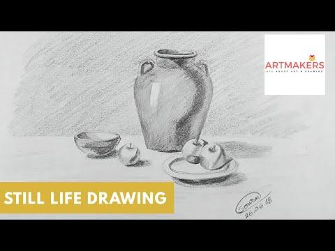 Pencil Shading Vase And Fruits Time Laps 89 Youtube