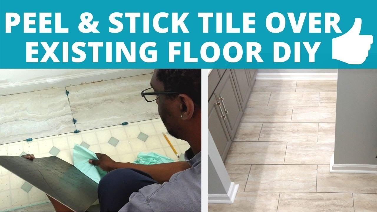 best luxury vinyl tile peel stick over existing bathroom floor install diy power couple