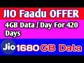 JIO OFFER 4GB/Day For 420 Days [ Jio 1680GB Data For 420  Days]