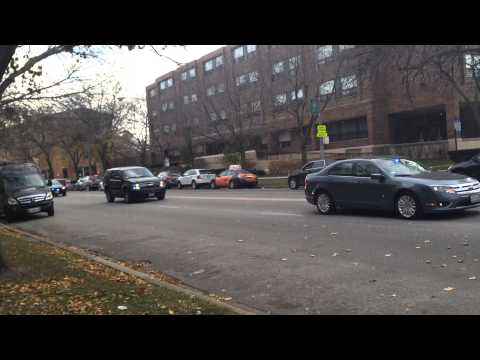 Jane Byrne funeral procession north on Sheridan towards Calvary Cemetary