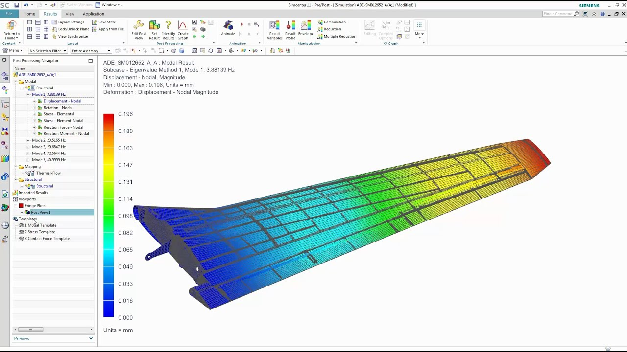 Simcenter 3D - Structural performance analysis on wing design