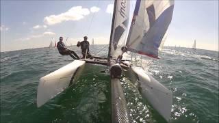 Eurocat 2013 Team Boskalis ESP1910 on a Nacra Infusion F18 (catamaran sailing)