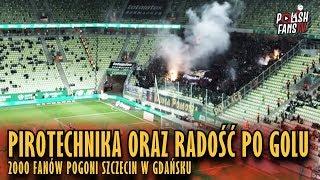 Pirotechnika oraz radość po golu 2000 fanów Pogoni Szczecin w Gdańsku (09.02.2019 r.)