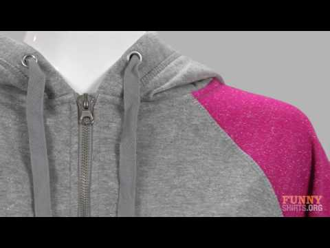 Misses Relaxed Fit J. America Glitter Full Zip Hoodie - Funny Shirts