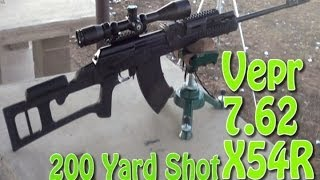 Vepr Tactical Sniper 7.62x54r 200 Yard Rangetest After Ati Dragunov Style Stock Installed