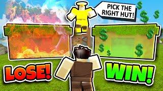 PICK THE RIGHT HUT TO WIN 1000 GOLD! (Roblox Booga Booga)