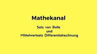 Satz von Rolle und der  Mittelwertsatz der Differentialrechnung