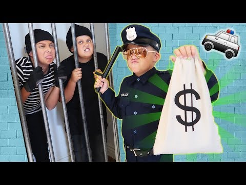 🚓 KID COP vs ROBBERS STEAL A MILLION DOLLARS! Family Friendly COPS AND ROBBERS GAME For Kids!