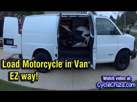 how-to-load-motorcycle-in-van-alone-easy-|-folding-motorcycle-ramp