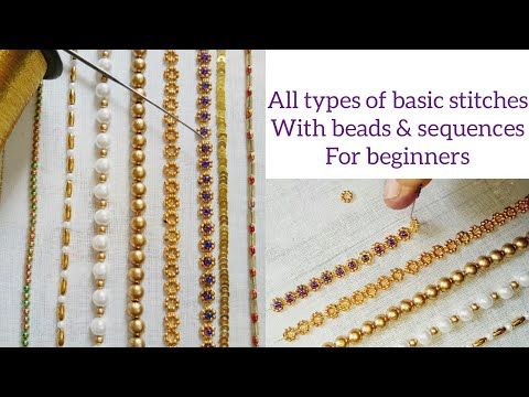 Aari work embroidery basic stitches with beads and sequences| for beginners| explanation in Tamil