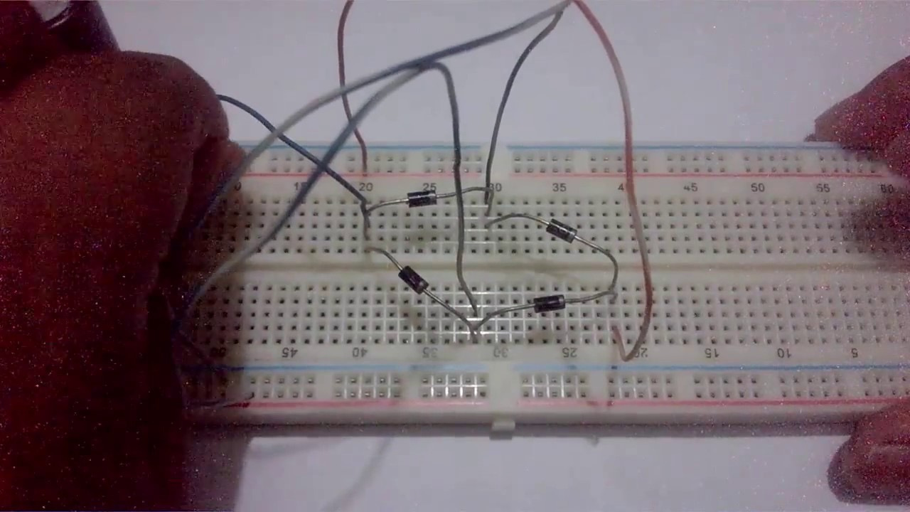 Easy Ac To Dc Converting Circuit On Breadboard Youtube Convert