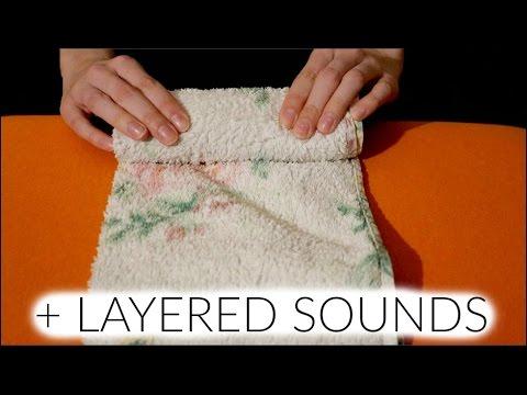 Binaural ASMR ♥ Folding & Handling Towels w/ Layered Sounds