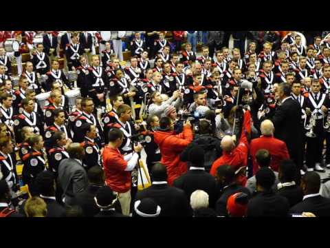 Urban Meyer and OSU Team enter the Skull Session Hang On Sloopy Ohio State Marching Band 11 26 2016